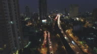 Aerial night view of lights on skyscrapers,Bangkok Thailand video