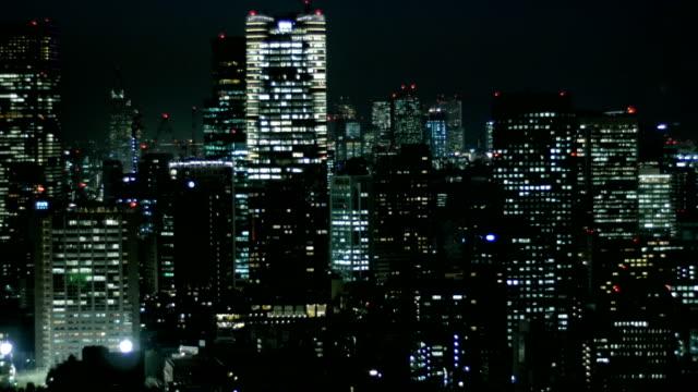 Aerial nightscape of Tokyo' city illumination. video