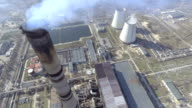 Aerial of a coal fire power station,close up video