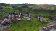 Aerial of a common village in Switzerland video