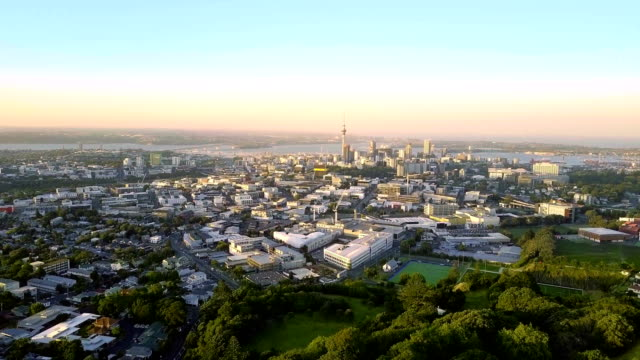 Aerial of Auckland downtown skyline during sunset video