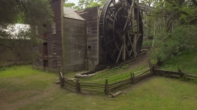 Aerial of Bale Grist Mill with large water wheel video