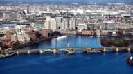 Aerial of Boston, Massachusetts along the Charles River video