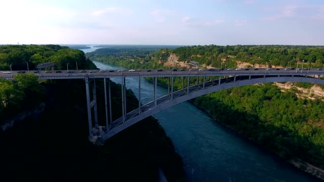 Aerial of Bridge Over Niagara Gorge Between Canada and United States video