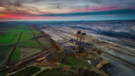Aerial of brown coal open pit mine video