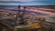 Aerial of Bucket Wheel Excavator in a surface coal mine video
