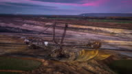 Aerial of Bucket Wheel Excavator in lignite surface mine video