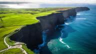 Aerial of Cliffs of Moher, Burren region, County Clare, Ireland video