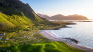 Aerial of coastline with beach at the Lofoten Islands, Norway video