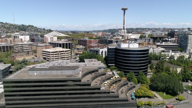 Aerial of Downtown Seattle Urban Neighborhoods and Business Buildings on Sunny Day video