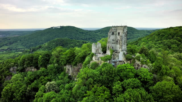 Aerial of Drachenfels Castle in Germany video