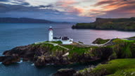 Aerial of Fanad Head Lighthouse in Ireland video