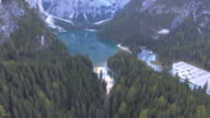 Aerial of flying mountain lake view video