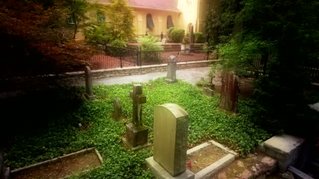 Aerial of Graveyard From The 1800's Around Historic Church In Woods video