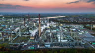 Aerial of industrial park with oil refinery video