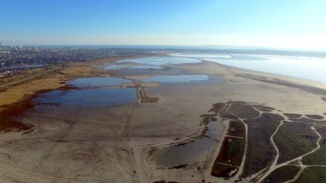 Aerial of Kuyalnik Estuary Odessa City and Black Sea on background video