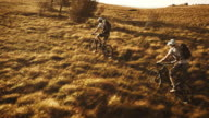 Aerial of mountain bikers on the grass covered plateau video