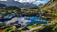Aerial of Norwegian Fishing Village in Lofoten Islands Landscape video