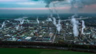 Aerial of Oil and gas industry - refinery at twilight - factory video