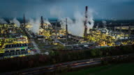 Aerial of Oil Industry - refinery factory at night video
