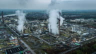 Aerial of Oil Refinery at Twilight video