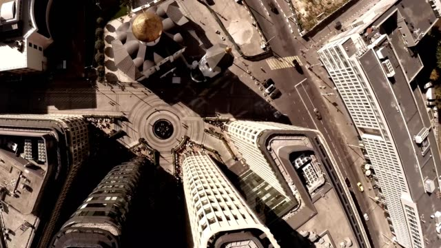 Aerial of Old Believers' Church in the Name of St. Nicholas. Highly photogenic church situated in the heart of one of the business areas of Moscow, Belorusskya Station. Cathedrals, Sights & Landmarks video
