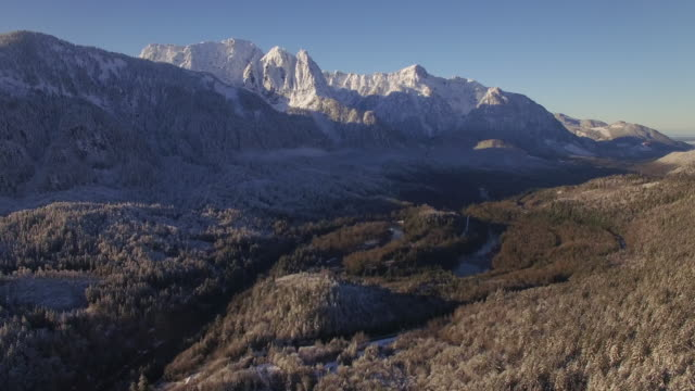 Aerial of Pacific Northwest Landmark Mountain Mount Index in Winter Season video