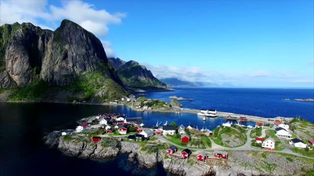 Aerial of scenic village Hamnoya on Lofoten islands in Norway. video