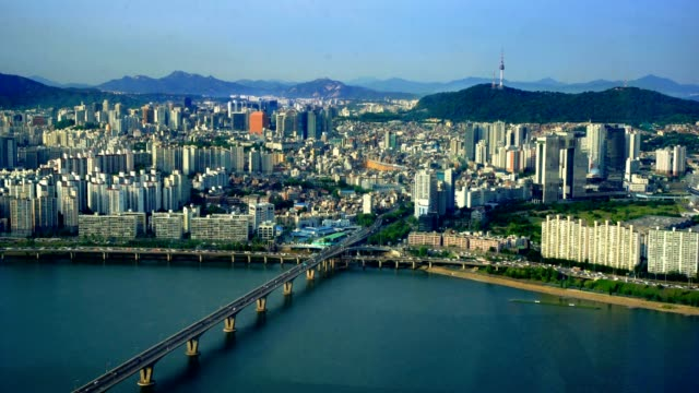 Aerial of Seoul City Skyline, South Korea video
