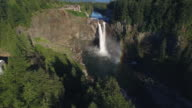Aerial of Snoqualmie Falls with Rainbow to Reveal Hydroelectric Facility and Mount Si video