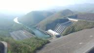 Aerial of Srinakarin Dam with mountain video
