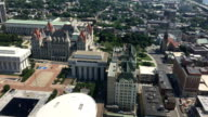 Aerial of the Albany legislature building video