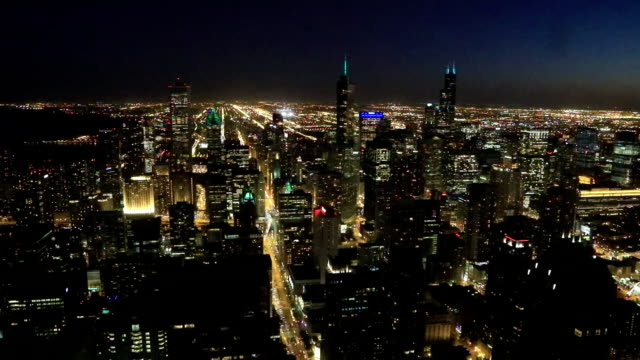 Aerial of the Chicago city center at night video