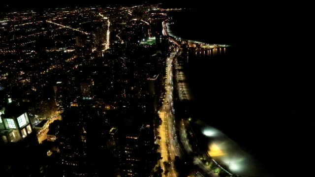 Aerial of the Chicago Lakeshore area at night video