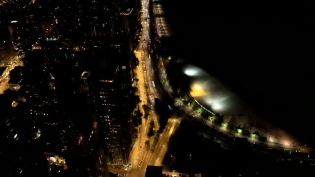 Aerial of the Chicago Lakeshore at night video