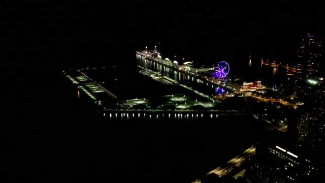 Aerial of the Chicago Navy Pier at night video