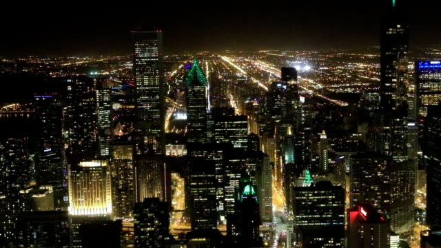 Aerial of the Chicago skyline after dark video