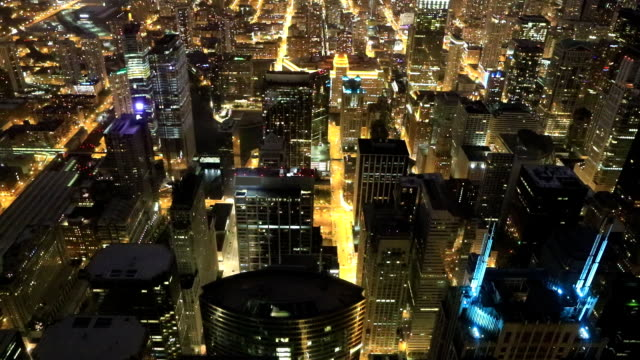 Aerial of the Chicago skyline at night video