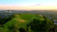 Aerial of the Mount Eden volcano in Auckland, Newzealand. video