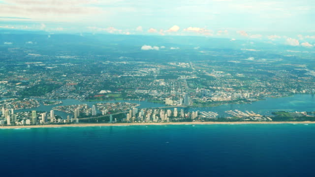 Aerial of the Surfers Paradise skyline on Queensland's Gold Coast, Australia video