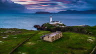 Aerial of White Lighthouse, Fanad Head, County Donegal, North Ireland video