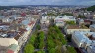 Aerial Old City Lviv, Central part of old city. European City. Lviv Opera. Ukraine. video