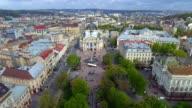 Aerial Old City Lviv, Central part of old city. Lviv Opera. Ukraine. video