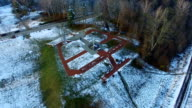 Aerial Orbiting Around Cross Monument In Winter video