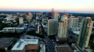 Aerial Over Austin Texas Skyline Cityscape Perfect Clear Sunset rainbows of Colors video