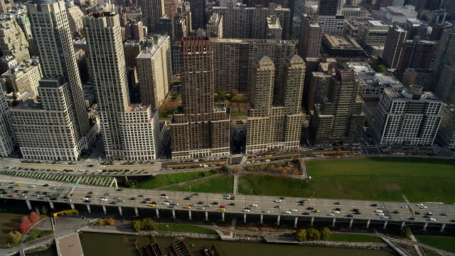 Aerial over curved buildings video