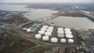 Aerial over gas plant video