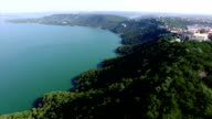 Aerial Over Lake Travis amazing geological features along the edge of the lake video