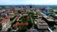 Aerial Over University of Texas Campus UT Clock Tower Austin Texas Skyline Panning to the Side video