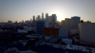 Aerial pan dolly up to reveal downtown Los Angeles Skyline video